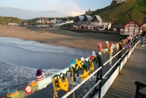 knitting on Saltburn Pier