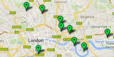 A map of 'city farms' in London