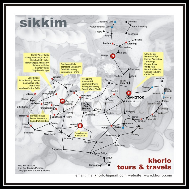 Tourist Map of Sikkim by Khorlo Tours & Travels
