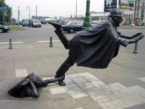 The tripped man sculpture, Brussels, Belgium.
