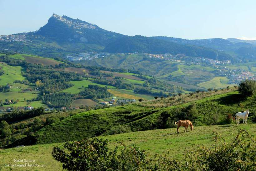 Mount Titano from distance where San Marino sits about 650m above sea level.
